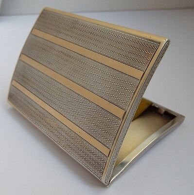 Superb Quality Clean English Antique 1923 Solid Silver & 9Ct Gold Cigarette Case
