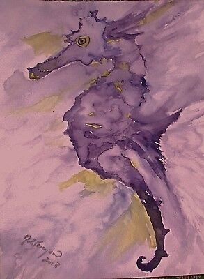 Watercolour Painting of Amethyst Seahorse,fish,Abstract,original,unframed,new