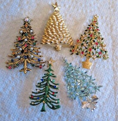 Vintage Lot Of 5 Christmas Tree Pins Brooches Various Colors And Styles Unsigned