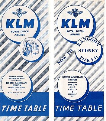 2 K.l.m. Royal Dutch Airlines Timetable Schedules Asia Africa Europe 1950