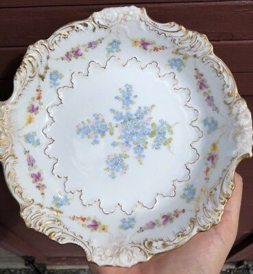 Antique AR GERMANY Dresden Hand Painted, Scallop- Edge Shallow Embossed Bowl