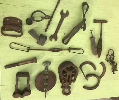 LOT cast iron tools Stove Spindle - Barn Pulley - old horse shoes - Farm ETC wow