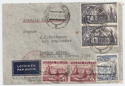 1939 Poland To Argentina Zeppelin Cover, Great Franking, Red Cancel