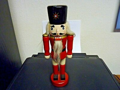 WOODEN NUTCRACKER, 24.5 cm TALL - A LONG-HAIRED, BEARDED SOLDIER? PRE-OWNED