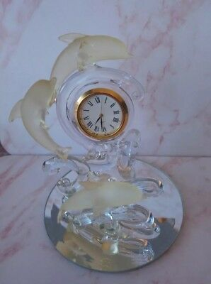 Vintage Glass Surfing Dolphins Clock On A Mirrored Base