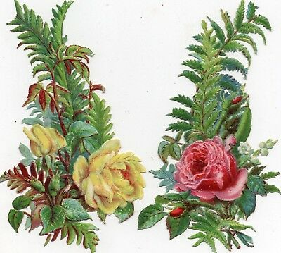 1800's Victorian - Yellow Pink Rose Fern Diecut Lot- Selling Lot Of Card's Scrap