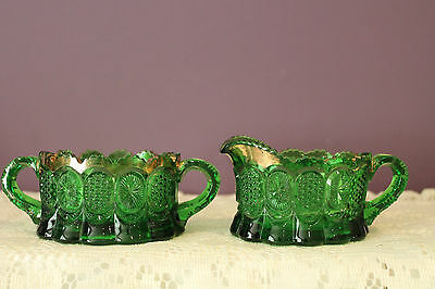 Vintage Green Pressed Glass Cream And Sugar With Gold Trim