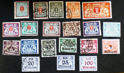 Twenty 1923 Danzig stamps including inflation high values up to 100,000,000