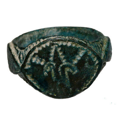 Crusaders Bronze Ring With Engraved Heraldic Symbol Circa 1000-1200 Ad-Wearable