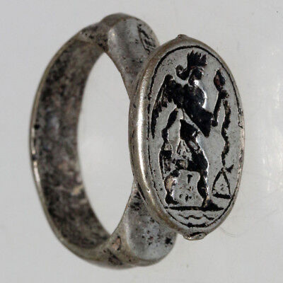 Intact Islamic Post Medieval Bronze Silver Plated Seal Ring