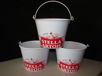 (3) Stella Artois Beer Ice Bucket lot For Bottles Cans Chalice Beer Bar Man Cave
