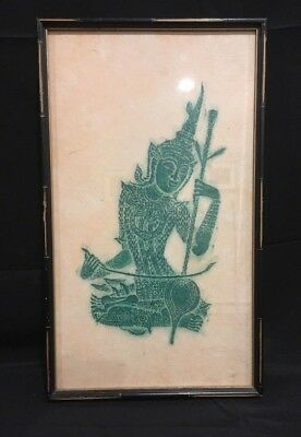 Angkor Wat Thai/Cambodian Temple Stone Rubbing GREEN on Rice Paper Framed
