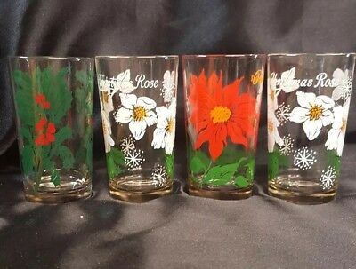 Boscul Peanut Butter Glasses Poinsettia Christmas Rose Holly no/name 5""