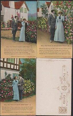 WW1. SET OF 3 PATRIOTIC BAMFORTH SONG CARDS. No.4615,WILL U THINK OF DEVON S...