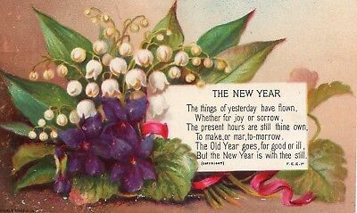 1800's Victorian - Lily Of The Valley New Years Card - Selling Lot Scrap Diecut