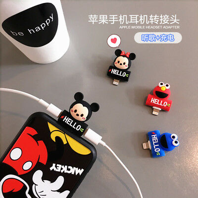 Cute Adapter For iPhone X 7 8Plus Splitter Audio Earphone Charger Dual Lightning