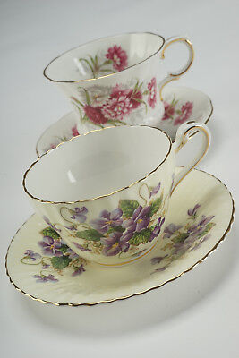 2 Vintage Paragon Tea Cups and Saucers - Flower Festival & Purple Violets