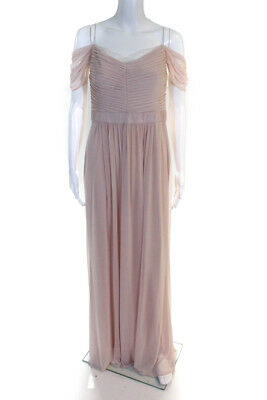 d2558079818a Adrianna Papell Womens Blush Drape Off Shoulder Gown Pink Size 10 10836091