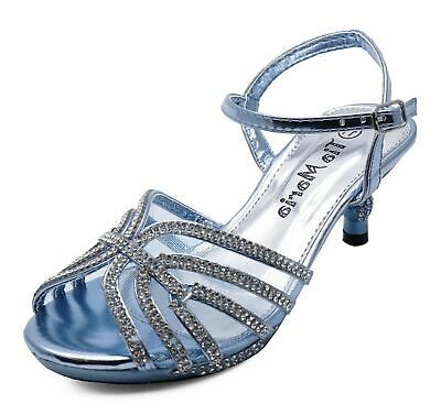 Girls Childrens Blue Diamante Low-Heel Sandals Pretty Party Dress Shoes Uk 10-2