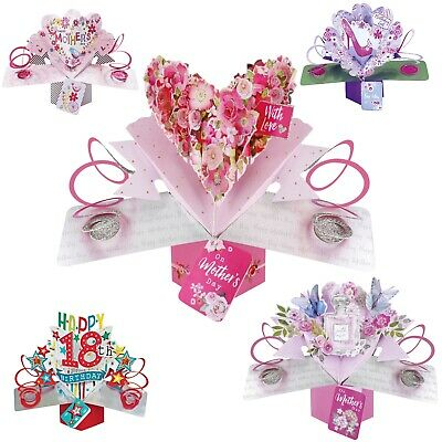 3D Pop Up Birthday Mother's Day Wedding Cards - Daughter Sister Friend Dad Boy