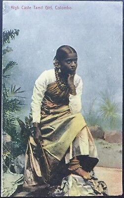 High Caste Tamil Girl, Colombo - Plate & Co Antique Postcard