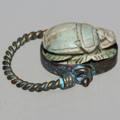 A Vintage Egyptian Bronze Ring With Scarab Seal