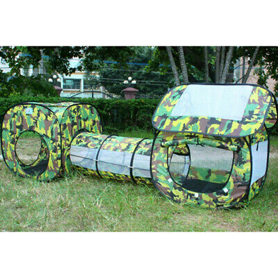 Kids 3-in-1 Pop Up Tunnel Play Tent Ball Pit Outdoor Camping Toy Camouflage