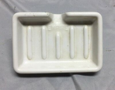 Vintage Ceramic White Porcelain Faucet Mount Soap Dish 614-18C