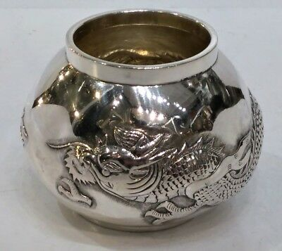 Quality Small Antique Chinese Export Silver Vase, Dragon, Hung Chong, C. 1900
