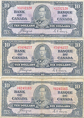 BANK OF CANADA LOT OF 3 COYNE-TOWERS 10 DOLLARS 1937 BC-24c NOTES - AVERAGE FN