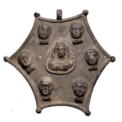 Extremely Rare , Hellenistic Period Intact Silver Pendant With 6 Male Faces &