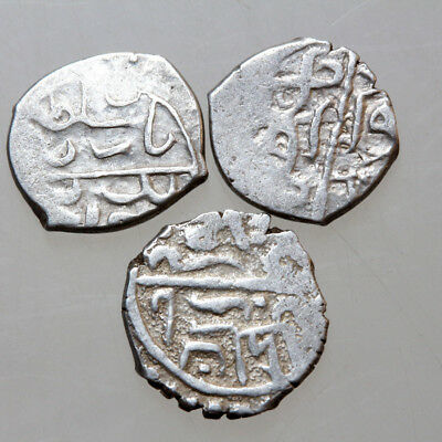 Lot Of 3 Uncertain Medieval Ottoman Silver Akce Coins