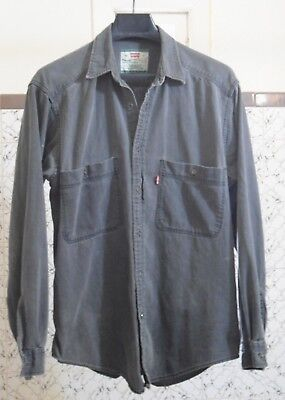 Levis Red Tab Black Washed Denim Shirt Long Sleeve Size Medium Metal Buttons