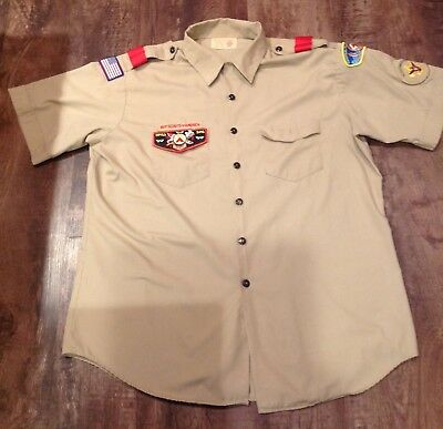 BSA Boy Scouts of America Official Shirt Mens XL tan Short Sleeve With Patches