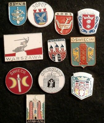 POLAND - City pins (Coat of Arms). Set of 11 - Vintage 80's