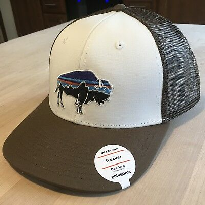 Patagonia Fitz Roy Bison Trucker Hat New With Tags - White With Timber Brown 1b7f131470c2