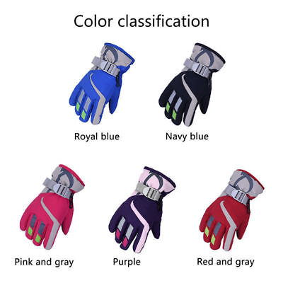 Boys Girls Kids Fleece Lined Windproof Winter Ski School Gloves Gripper Palm UK