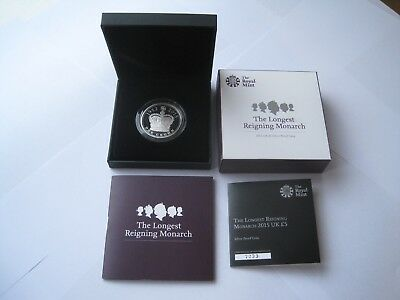 2015 Royal Mint Longest Reighning Monarch,silver Proof £5 Coin,coa,boxed