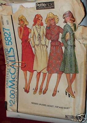 Vintage McCalls Sewing Pattern 5827 Misses Jacket Skirt Top Sz 12