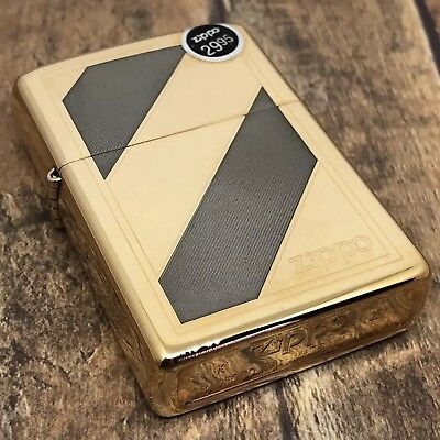 1994 Vintage Zippo Lighter - Two Tone Gold and Silver - Bold Stripe - Unfired