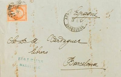 France couverture. Yv 23. 1865. 40 cts orange. MARSEILLE to BARCELONE Grille