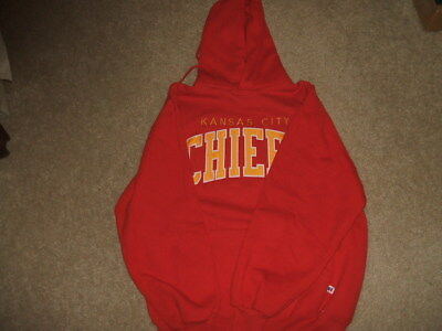 Kansas City Chiefs Cotton/polyester Hooded Sweat Shirt - Russell Athletic-Size L