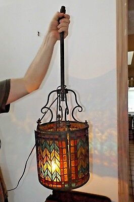 Antique 1890 Craftsman Arts Crafts Stained Glass Gas Light Ceiling Porch Fixture