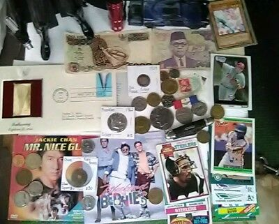 Junk Drawer Lot Silver Coins, Knife, Tokens, Cards and more