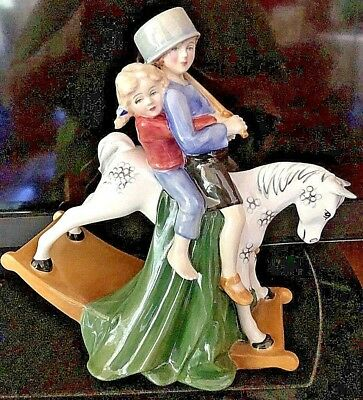 Retired Royal Doulton Hold Tight Figurine - HN 3298, Boy & Girl riding on Horse
