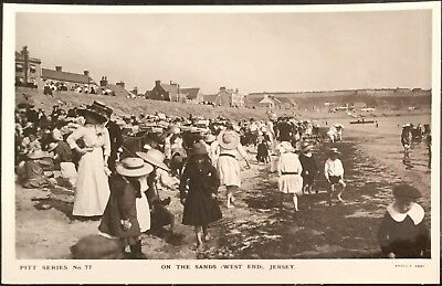 On The Sands, Jersey C.I. - Francis Foot Real Photo Antique Postcard