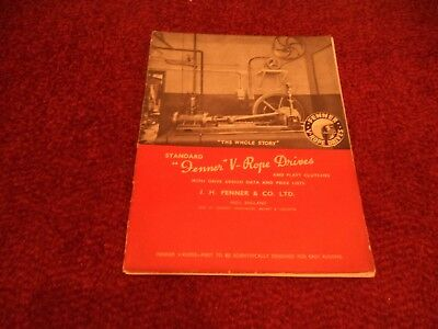 Vintage Fenner V Rope Drives / Clutches Catalogue Booklet. Very Scarce 1939