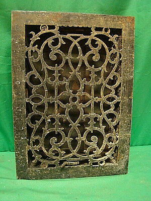 Antique Cast Iron Heating Grate Unique Ornate Design 13.75 X 9.75 Dh