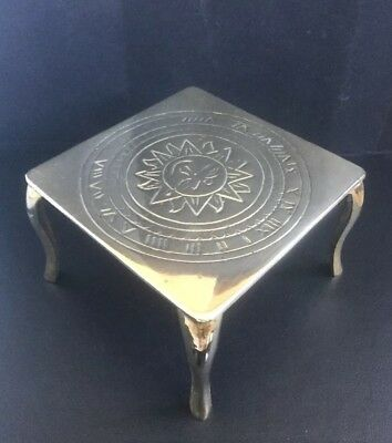 Vintage Solid Brass Teapot Trivet Stand Square With Sun Face