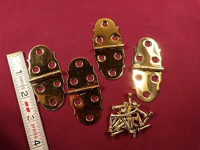 2 Pair Solid Brass Box Chest Door Surface Mount Hinges Small Hinge Vintage